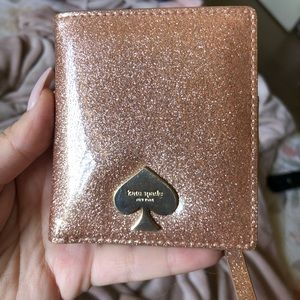 Kate Spade rose gold glitter bifold wallet